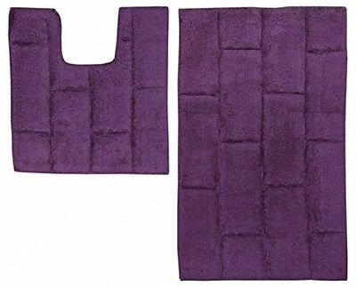 Just Contempo 2 Piece Cotton Bath And Pedestal Mat Set - Purple