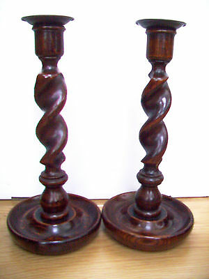 Pair Of Oak Antique Barley Twist Candlesticks With Brass  Sconces