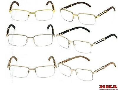 WOOD BUFFS Art Nouveau VINTAGE Semi Rimless Style Gangster RICH Frame EyeGlasses