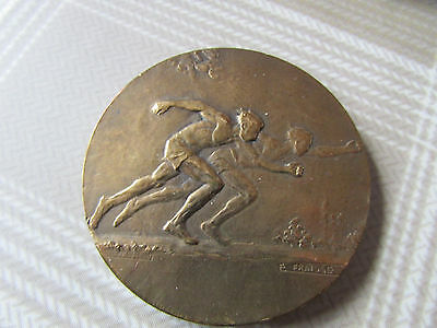 Early Boxed ATHLETICS Running Medal / Plaque by F FRAISSE France