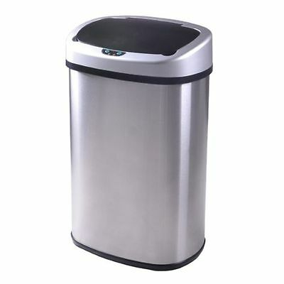 13 Gallon Touch Free Sensor Automatic Stainless Steel Trash Can Garbage Kitchen