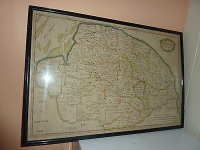 Original 1695 Framed Rob Morden Print &later Hand Coloured County Map Of Norfolk