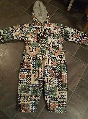 Vintage Retro '90s All In One Snow Suit 92cms 2-3 Years Pink Frilly Russian Doll