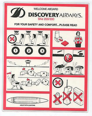 Discovery Airways Hawaii Bae 200/300 Safety Card Bae146