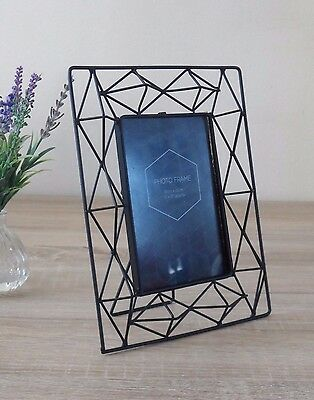 Metal Photo Frame Standing Picture Decor Geometric Black Wire Clear