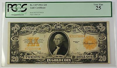 1922 $20 Large Size Note Gold Certificate Fr. 1187 PCGS Very Fine 25 WW