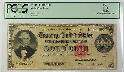 1922 $100 Large Size Note Gold Certificate Fr. 1215 PCGS Fine 12 Apparent WW
