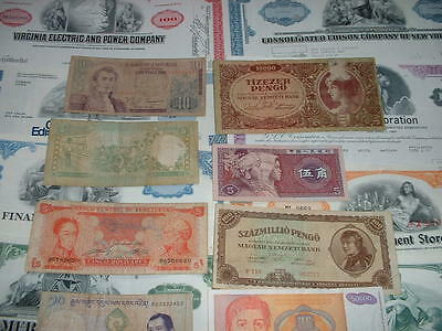 Original 10  World Shares  And 10 Banknotes As Seen In Pictures