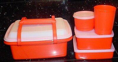 9 pc. Orange Tupperware Lunch box set