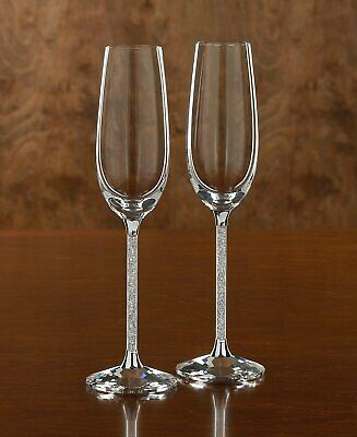 2x Champagne Glasses Flutes Made With Swarovski Crystals Gift box + Gift Bag