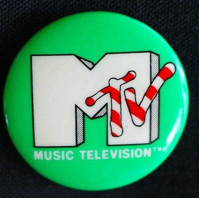 Green  Mtv - Music Television 1980's  Original Pinback (Not Repro) Button Scarce