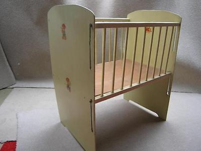 Vintage Retro 1950's Painted Wooden Childs Doll's Cot/crib With Fold Down Side