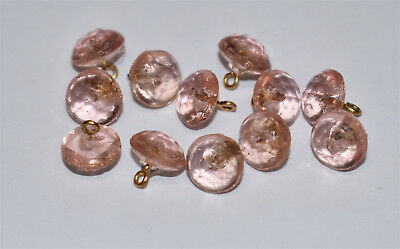 VINTAGE 12 GLASS BUTTON light PINK FACETED BUTTONS or BEADS • 7mm