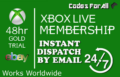 Xbox Live Gold 48Hr 2 Day Trial Code - Instant Dispatch