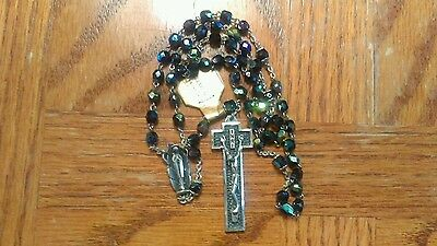 ANTIQUE 1920's STERLING SILVER CARNIVAL GLASS BEADS ART DECO ITALIAN ROSARY