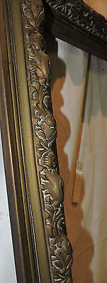 Antique Art Nouveau Solid Brass Raised Victorian Fireplace Surround 30.5 X 30.25