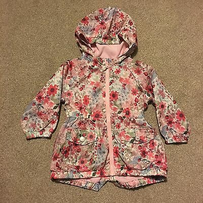 Next Baby Girls Jacket Floral Pink Coat 18-24 Months 1.5-2 Years Pretty Hood
