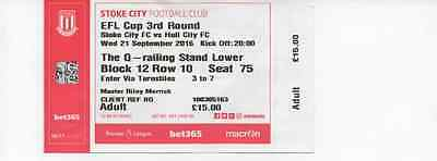 2016/17-Stoke City V Hull City League Efl Cup 3Rd Round-Football Match Ticket