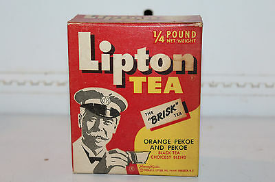 Vintage Lipton Tea Orange Pekoe Box Contents 1/4 Pound NOS Rare