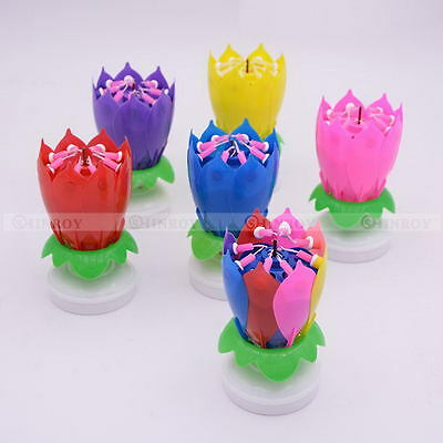 Lotus Flower Double-deck Decoration Musical Blossom Cake Topper Birthday Candle