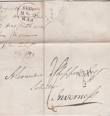 1833 Add!½d PART LETTER MAILED TO ALEXANDER SHEPPERD AT INVERNESS