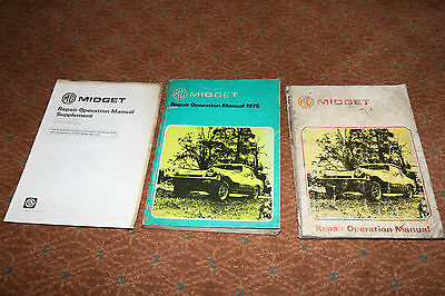 Genuine MG Midget workshop repair operations manuals for 1975 & 1978