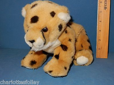 "BEAUTIFUL PLUSH CHEETAH BABY  11"" LONG EXCELLENT stuffed toy cat AURORA leopard"