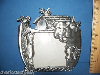 "NOAH'S ARK PEWTER PHOTO FRAME  5"" x 5.25""  STAND OR HANG  3 x 3 OPENING"