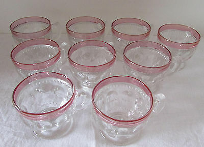 Tiffin King's Crown Thumbprint Cranberry Stained Punch Cups (9)