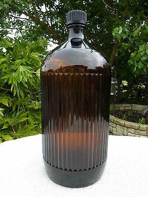 Large 30cm Antique Brown Amber Ribbed Glass Poison Bottle Apothecary Chemist