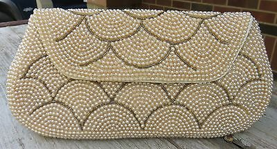 TRUE VINTAGE Beaded Evening Cocktail Party Clutch Purse - Bronze Pearls Scallop