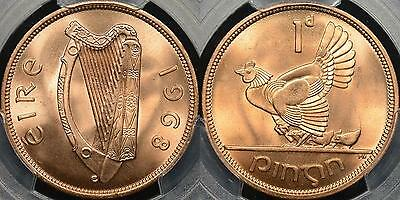 Ireland 1968 Penny KM #11 Gem Uncirculated PCGS MS66RD Red
