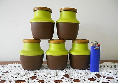 VINTAGE RETRO F&T PLASTIC SPICE CANISTER SET 2 TONE APPLE GREEN & BROWN C1970s