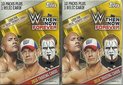 (2) 2016 Topps WWE THEN NOW FOREVER Wrestling Cards 71ct. Value/Blaster Box LOT