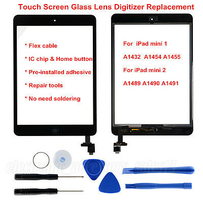 For iPad mini 1 2 Touch Screen Glass Digitizer Replacement + IC Chip+Home Button