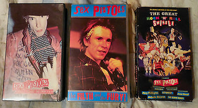 3 Sex Pistols Vhs Video Cassette Tape Filth & Fury Kill The Hippies R&r Swindle