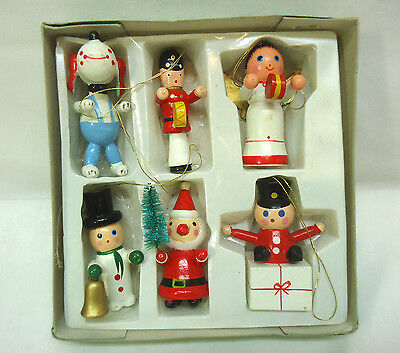 Vintage Wooden Christmas Ornaments 6 Ornaments Dog Angel Santa w/Brush Tree