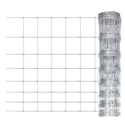 New 1x50m Galvanized Chain Mesh Fence Post Set Garden Fencing Wire Pet Chicken