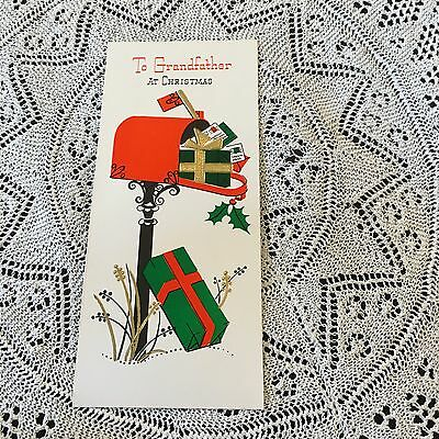 Vintage Greeting Card Front  Christmas Red Mailbox Gifts