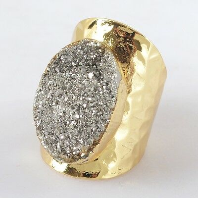 Size 7 Natural Agate Titanium Druzy Ring Gold Plated B029261