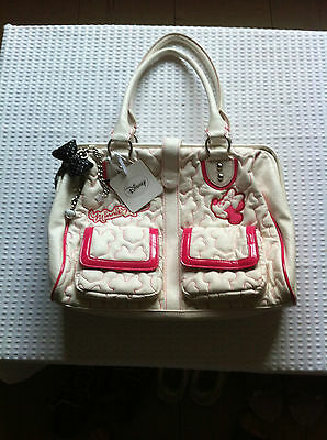 Disney White&hot Pink Trim Large Embossed Faux Leather Minnie Handbag&charm Bnwt