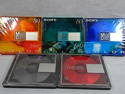 5 x Sony Color Mini Disc  (3 of them New) 80 minutes