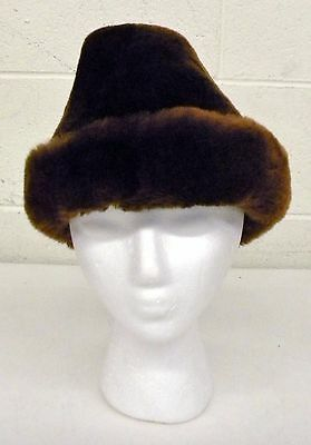 Vintage DUNN & CO London LAMBSKIN Brown Fur COSSACK HAT Quilted-Lining