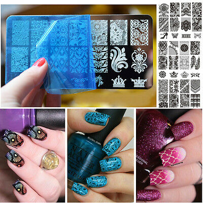 Stencil Nail Art Image Stamp Stamping Plate Manicure Template 10 Pattern DIY HOT