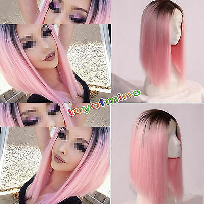 Heat Resistant Synthetic Lace Front Ombre Wigs Long Straight Bob Black&Pink Hair