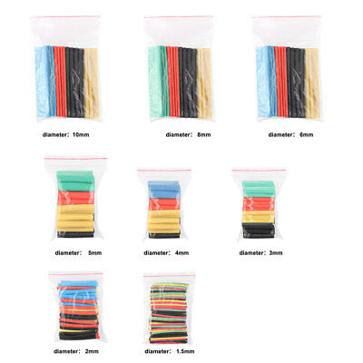 328Pcs 8Size Assortment 2:1 Heat Shrink Tubing Tube Sleeving Wrap Wire Kit Cable