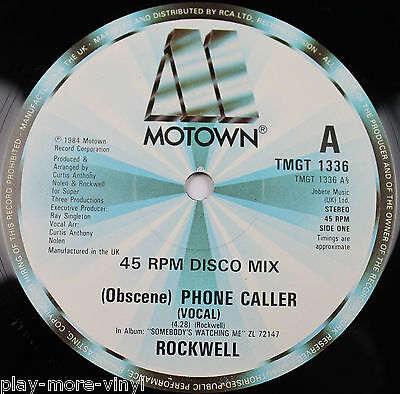 "ROCKWELL Obscene Phone Caller 12"" vinyl UK 1984 Motown plays EX!"