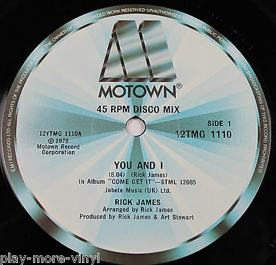 "RICK JAMES You And I / Hollywood 12"" vinyl UK 1978 Motown"