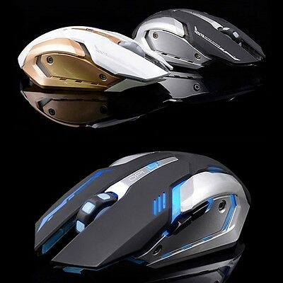Rechargeable Wireless Silent 2400 DPI PC USB Optical Ergonomic Gaming Mouse
