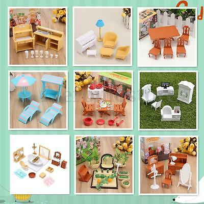 Furniture Dolls House Table Miniature Room TV Cabinet Set Child Kids Gift Toys